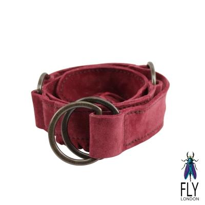 【Fly London 】耍流蘇 圓形皮帶扣個性皮毛皮帶 - 帶紅