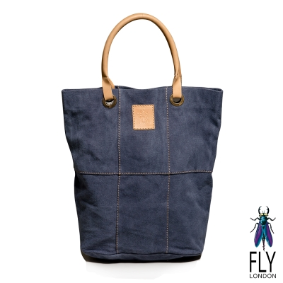 【Fly London 】SIX PIECES FLY水洗帆布牛皮手提長袋 - 自在藍