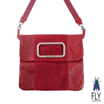 【Fly London 】方方的框 雙拼牛皮 手拿/斜揹包 - 調情紅-服飾‧鞋包‧內著‧手錶-myfone購物