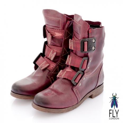 Fly London(女)★BE GOOD 個性中筒粗跟軍靴 - 酒紅