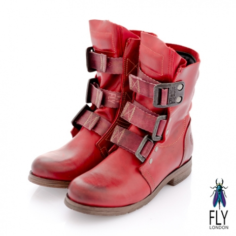 Fly London(女)★BE GOOD 個性中筒粗跟軍靴 - 莓紅36