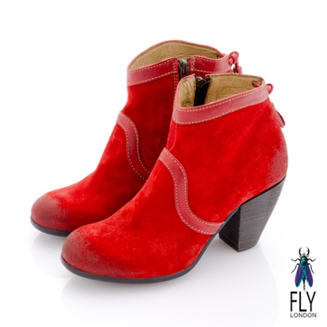Fly London(女)★TINA 踝上短靴反毛皮粗跟流蘇短靴 - 玫紅