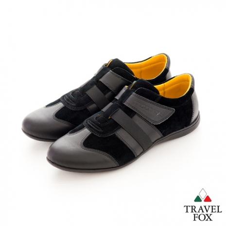 Travel Fox(男) SMART-智慧創意 反毛皮雙色雙料側黏休閒鞋 - 黑-服飾‧鞋包‧內著‧手錶-myfone購物