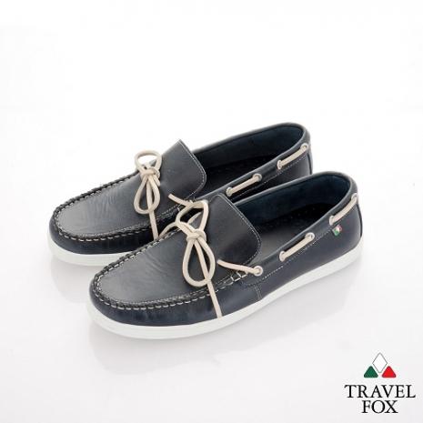 Travel Fox(男) STYLE-風格流行 微尖牛皮經典帆船鞋 - 勿忘藍-服飾‧鞋包‧內著‧手錶-myfone購物