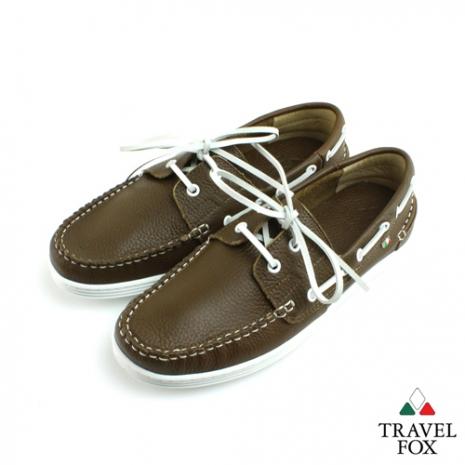 Travel Fox(男) STYLE-風格流行 素面牛皮帆船鞋 - 橄欖43