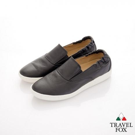 Travel Fox(男) STYLE-風格流行 後跟鬆緊羊皮懶人鞋 - 黑-服飾‧鞋包‧內著‧手錶-myfone購物