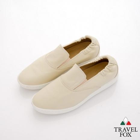 Travel Fox(男) STYLE-風格流行 後跟鬆緊羊皮懶人鞋 - 米-服飾‧鞋包‧內著‧手錶-myfone購物