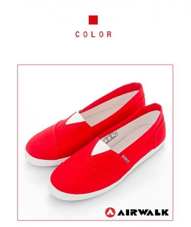 AIRWALK(女) - 帆布鞋 甜姐兒V領 斜紋拼布 輕柔純棉帆布鞋 - 紅US7.5