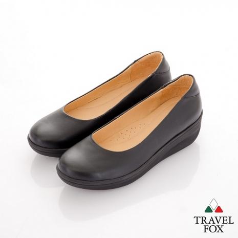 Travel Fox(女) SOFT-柔軟舒適 空姐專用搖擺厚底娃娃鞋 - 黑