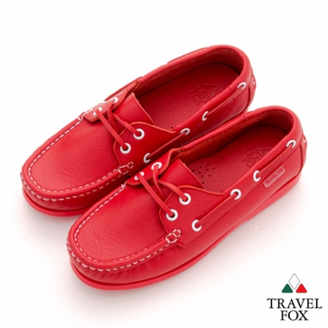 Travel Fox(女) STYLE-風格流行 全色牛皮帆船鞋 - 紅
