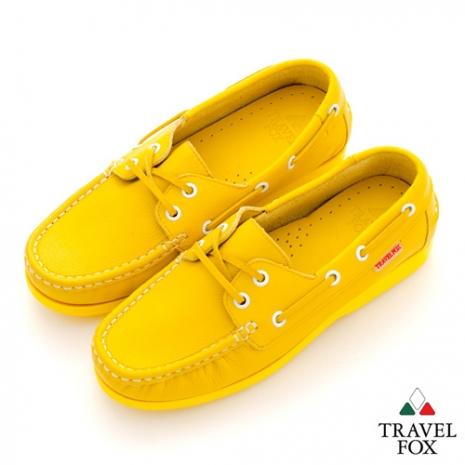 Travel Fox(女) STYLE-風格流行 全色牛皮帆船鞋 - 黃