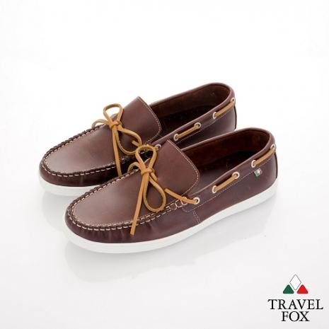 Travel Fox(男) STYLE-風格流行 微尖牛皮經典帆船鞋 - 踏實咖-服飾‧鞋包‧內著‧手錶-myfone購物