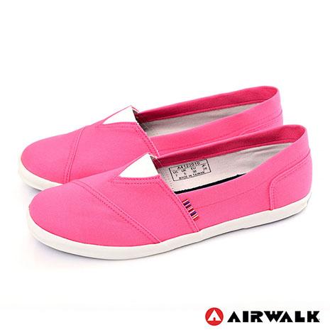 AIRWALK(女) - 帆布鞋 甜姐兒V領 斜紋拼布 輕柔純棉帆布鞋 - 淺黃5.5