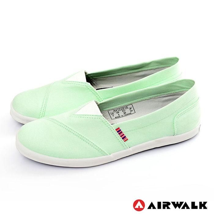AIRWALK(女) - 帆布鞋 甜姐兒V領 斜紋拼布 輕柔純棉帆布鞋 - 淺綠6.5