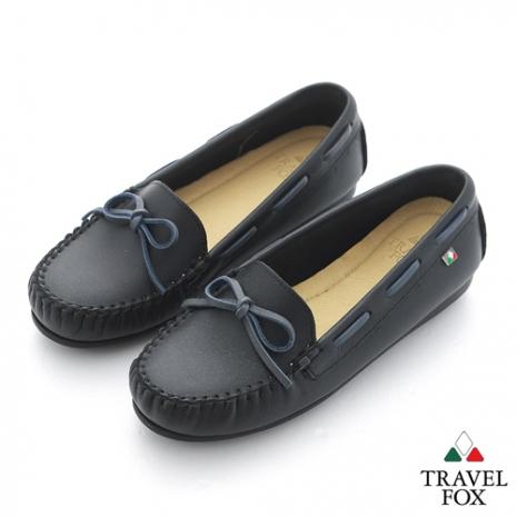 Travel Fox(女) 旅狐休閒鞋 義想飛飛蝴蝶結豆豆休閒鞋 - 黑