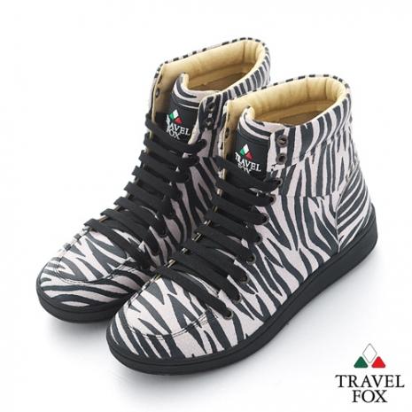 Travel Fox(男) SEXY-性感大膽 個性風高筒休閒鞋 - 斑馬紋白/黑 - 43