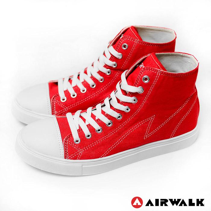 AIRWALK(男) - 青春年代復刻圓頭高筒帆布鞋 - 嗆人紅9.5