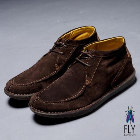Fly London(男)★沙漠之歌 反毛皮低筒靴型休閒鞋 - 摩咖深咖啡 - 41
