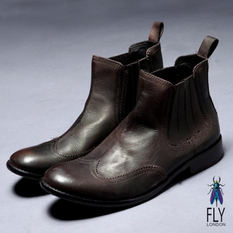 Fly London(男)★極簡文人 牛皮拋面半筒靴 - 暗深咖深咖啡 - 40