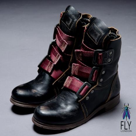 Fly London(女)★BE GOOD 個性中筒粗跟軍靴 - 黑黑 - 37