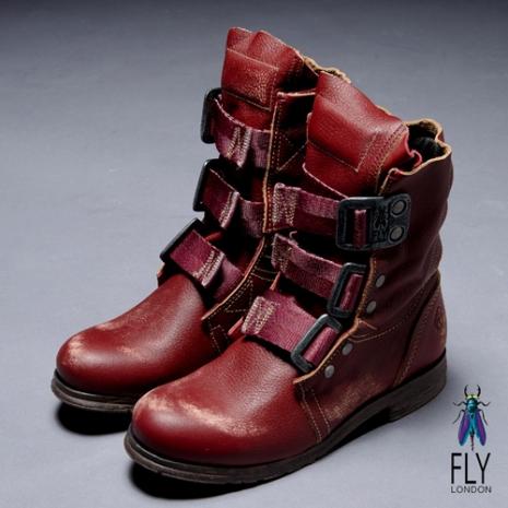 Fly London(女)★BE GOOD 個性中筒粗跟軍靴 - 紅