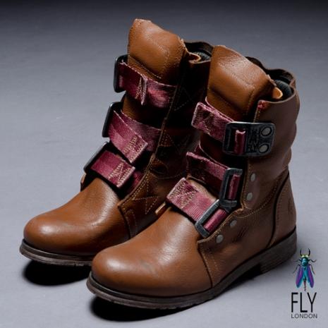 Fly London(女)★BE GOOD 個性中筒粗跟軍靴 - 駝駝 - 39