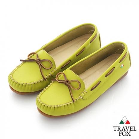 Travel Fox(女) 旅狐休閒鞋 義想飛飛蝴蝶結豆豆休閒鞋 - 芥茉黃