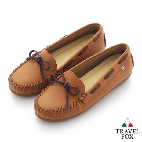Travel Fox(女) 旅狐休閒鞋 義想飛飛蝴蝶結豆豆休閒鞋 - 棕