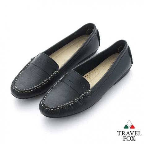 Travel Fox(女) SOFT-柔軟舒適 單色開口造型直套休閒鞋 - 黑黑
