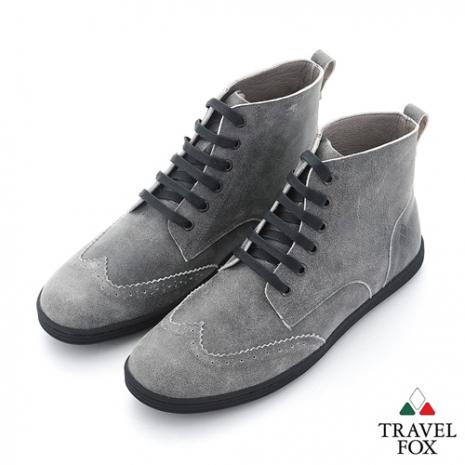 Travel Fox(男) STYLE-風格流行 牛津調 皮面高筒休閒靴 - 迷霧灰