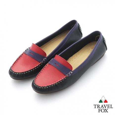 Travel Fox(女) SOFT-柔軟舒適 撞色開口造型直套休閒鞋 - 黑紅紫