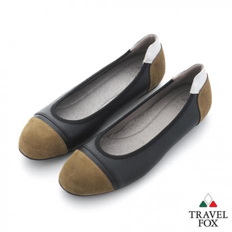 Travel Fox(女) SOFT-柔軟舒適 淺口半圓麂皮雙色休閒鞋 - 綠緣黑