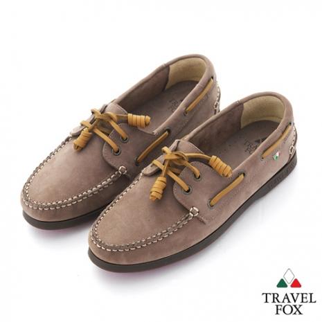 Travel Fox(女) STYLE-風格流行 三角楦經典反毛帆船鞋 - 棕線沙