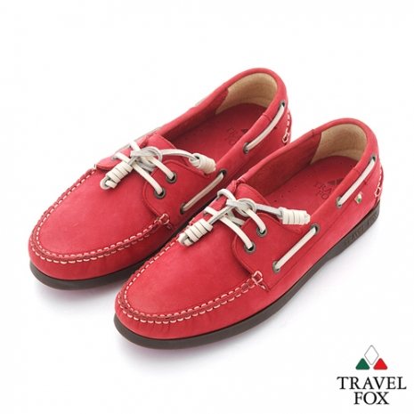 Travel Fox(女) STYLE-風格流行 三角楦經典反毛帆船鞋 - 白線紅紅 - 35