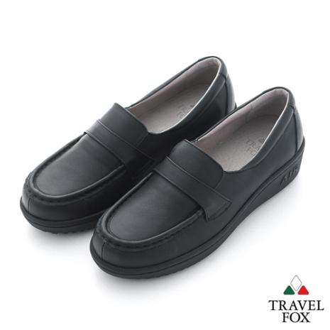 Travel Fox(女) SOFT-柔軟舒適 橫帶微高休閒鞋 - 黑黑 - 38