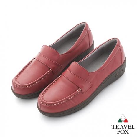 Travel Fox(女) SOFT-柔軟舒適 橫帶微高休閒鞋 - 紅紅 - 38