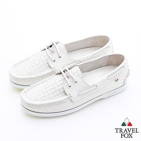 Travel Fox(男)夏的編織三角楦雙眼帆船鞋 - 時尚白40