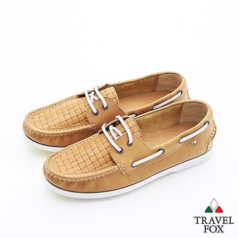 Travel Fox(男)夏的編織三角楦雙眼帆船鞋 - 優雅棕