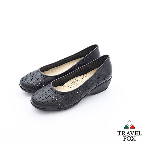 Travel Fox(女)Soft星星的夜空楔型娃娃鞋 - 夜黑