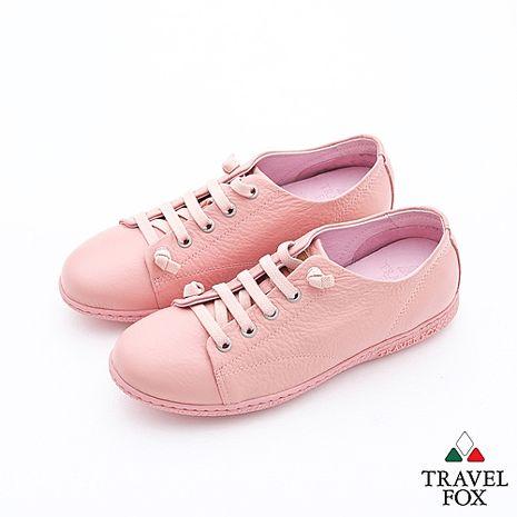 Travel Fox(女)Soft小婦人免綁帶彈性五眼極簡修閒鞋 - 膚粉