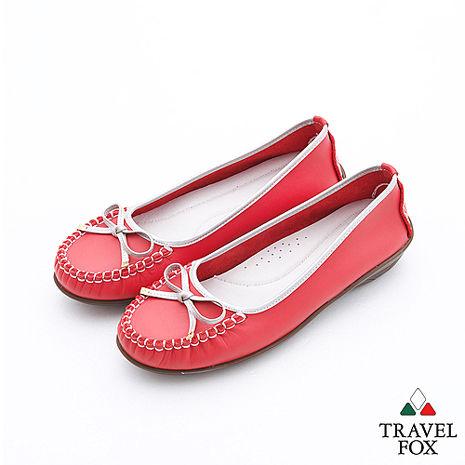 Travel Fox(女)Soft跳色描邊莫卡辛娃娃鞋 - 銀邊紅35
