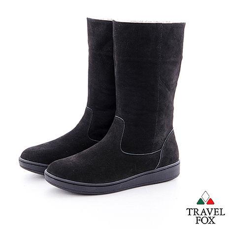 Travel Fox(女)數著下雪的日子 超軟羊皮可翻領半筒雪靴 - 絕色黑