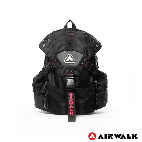 AIRWALK - 潮流三叉扣後背包 - 黑繡紅-服飾‧鞋包‧內著‧手錶-myfone購物
