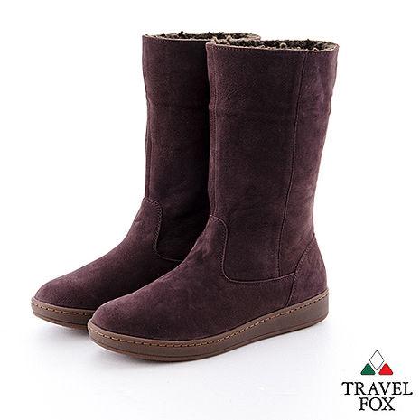 Travel Fox(女)數著下雪的日子 超軟羊皮可翻領半筒雪靴 - 冬戀紫