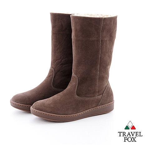 Travel Fox(女)數著下雪的日子 超軟羊皮可翻領半筒雪靴 - 風華咖