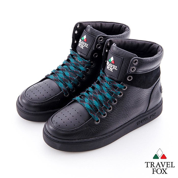 Travel Fox(女) CLASS 900 雙料側環牛皮高筒休閒鞋 - 全黑