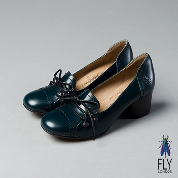 Fly London(女)★艾莉絲 真皮綁帶圓頭低跟淑女鞋 - 軍藍亮