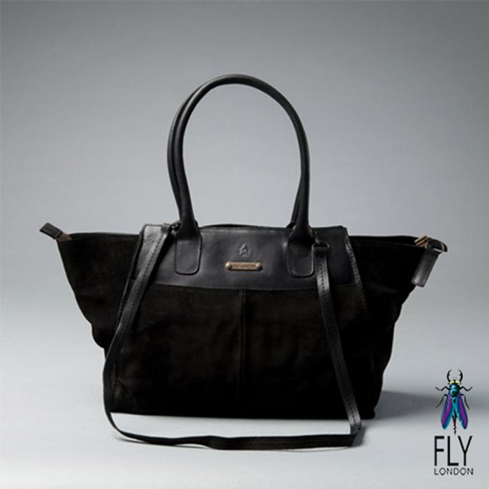 Fly London - 微笑囧囧 牛皮梯字手提肩背二用包 - 反毛黑