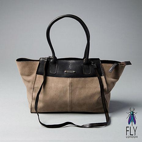 Fly London - 微笑囧囧 牛皮梯字手提肩背二用包 - 反毛米