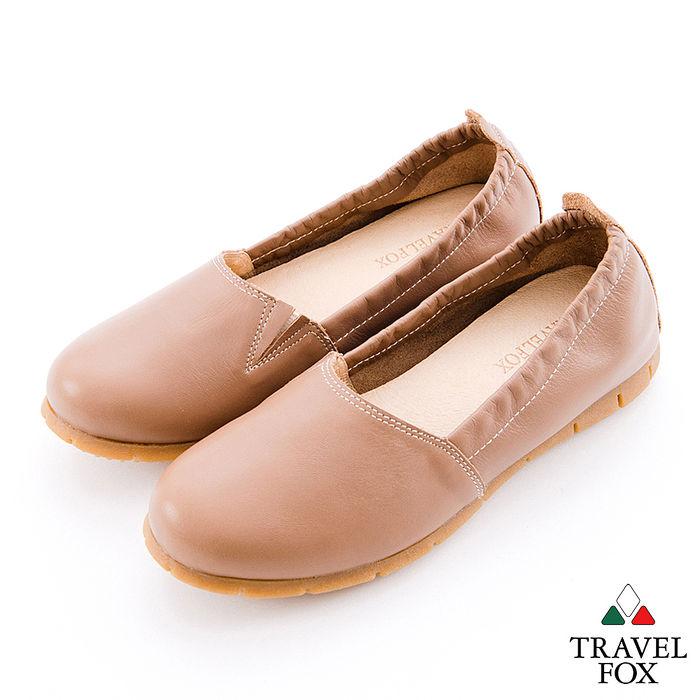 Travel Fox(女)你是跳躍的音符 牛皮彈性縮口休閒鞋 - 棕38